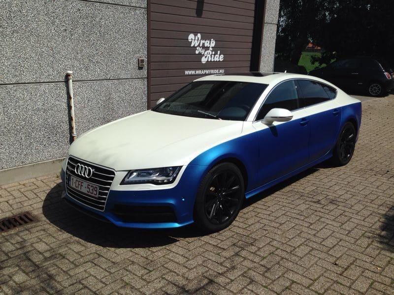 Audi A7 met Two Tone Wrap in Blauw en Wit, Carwrapping door Wrapmyride.nu Foto-nr:4858, ©2021