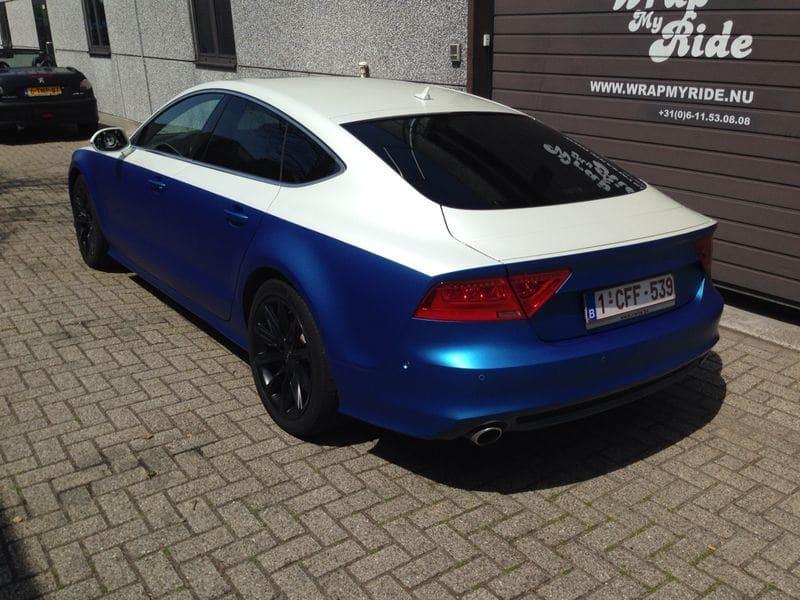 Audi A7 met Two Tone Wrap in Blauw en Wit, Carwrapping door Wrapmyride.nu Foto-nr:4862, ©2021