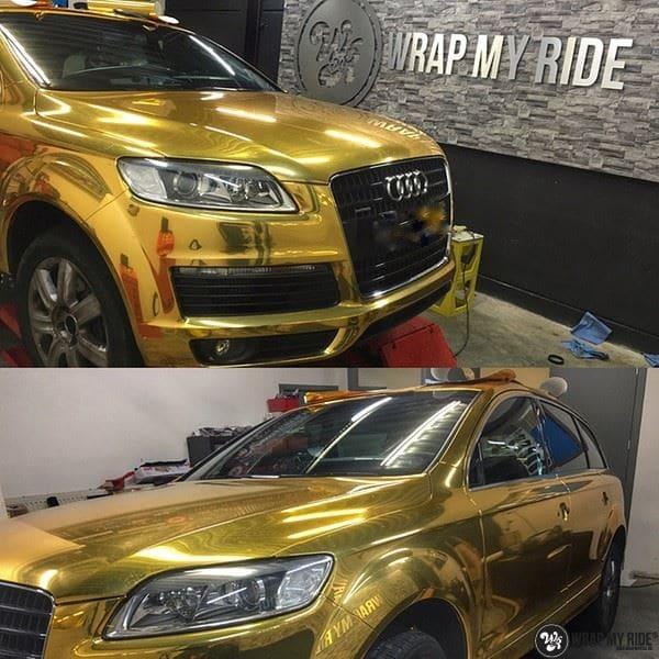 Audi Q7 Gold Chrome, Carwrapping door Wrapmyride.nu Foto-nr:8819, ©2021