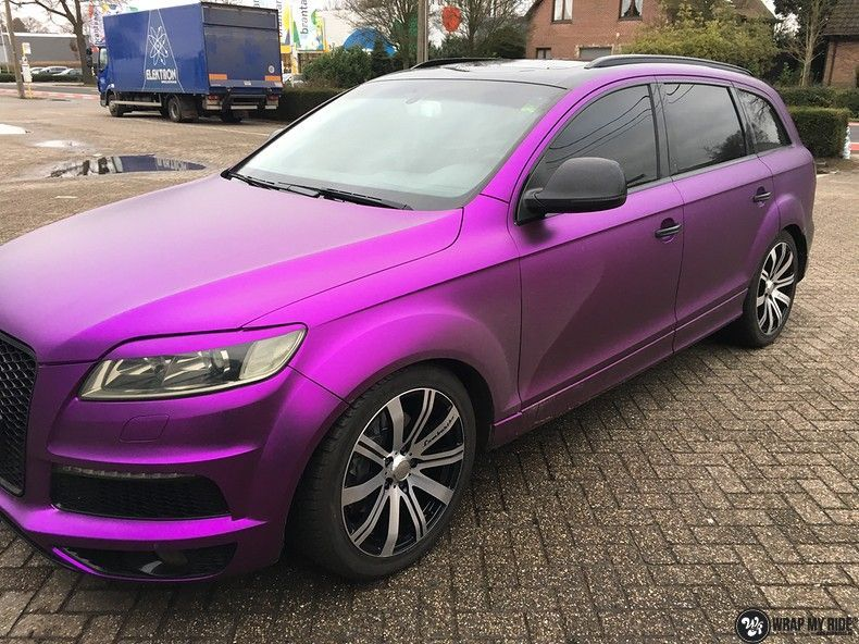 Audi Q7 mat paars chrome, Carwrapping door Wrapmyride.nu Foto-nr:10634, ©2018