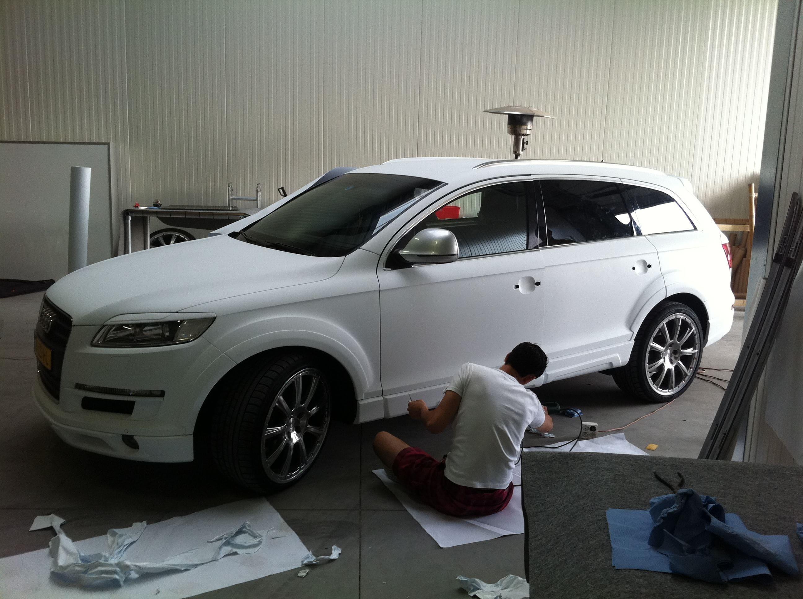 Audi Q7 met Mat Witte Wrap, Carwrapping door Wrapmyride.nu Foto-nr:4925, ©2021