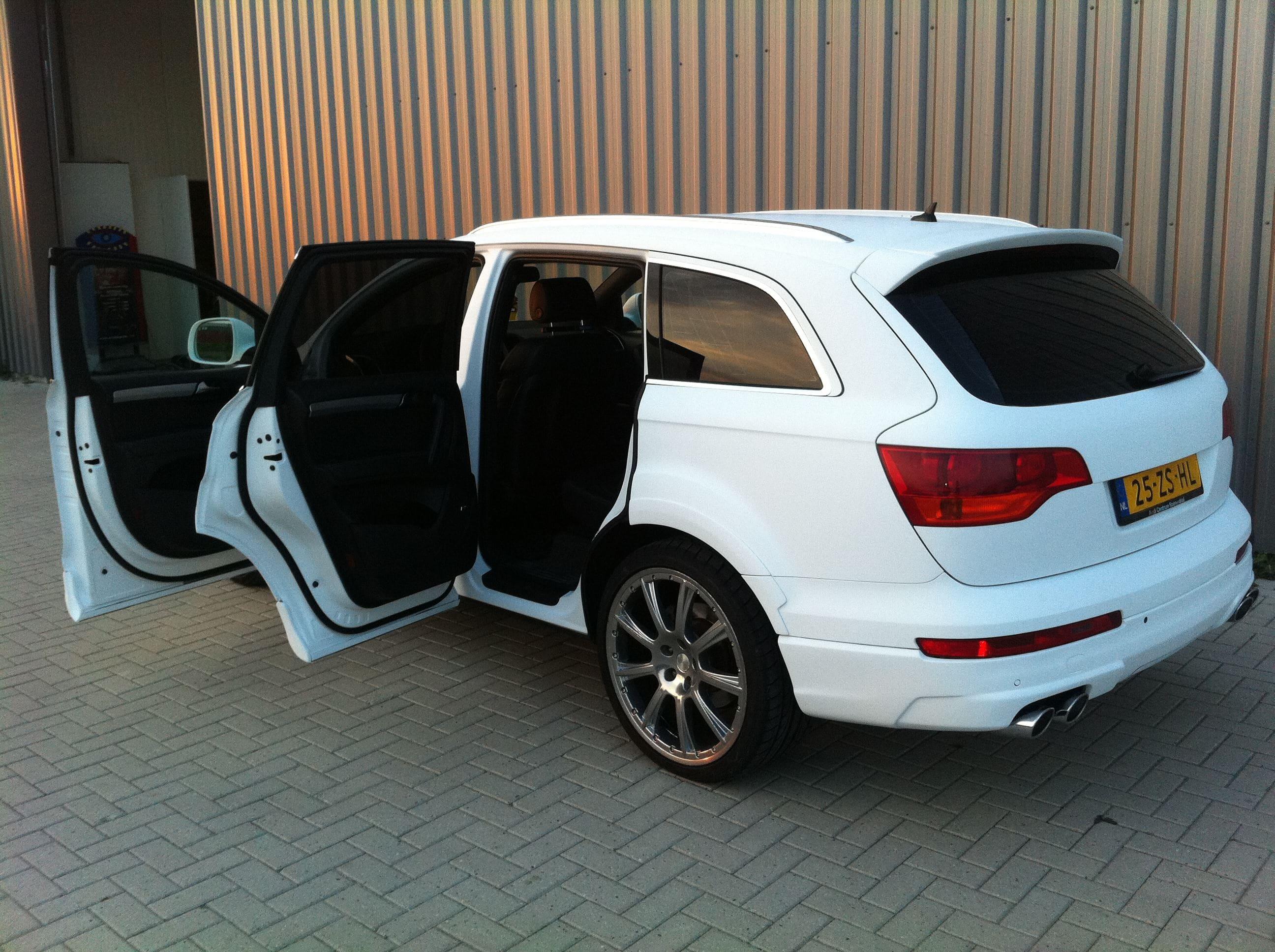 Audi Q7 met Mat Witte Wrap, Carwrapping door Wrapmyride.nu Foto-nr:4928, ©2021