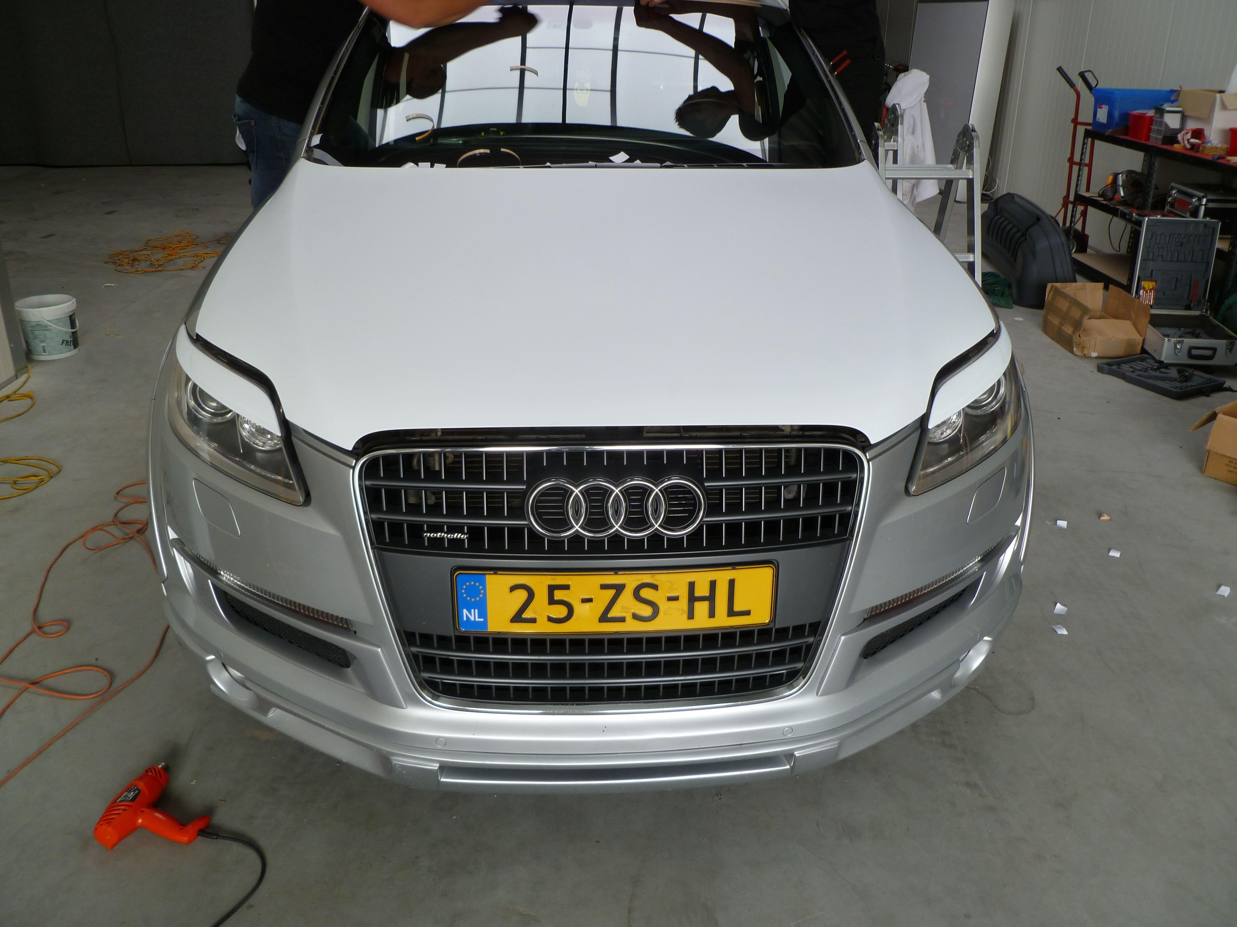 Audi Q7 met Mat Witte Wrap, Carwrapping door Wrapmyride.nu Foto-nr:4967, ©2021