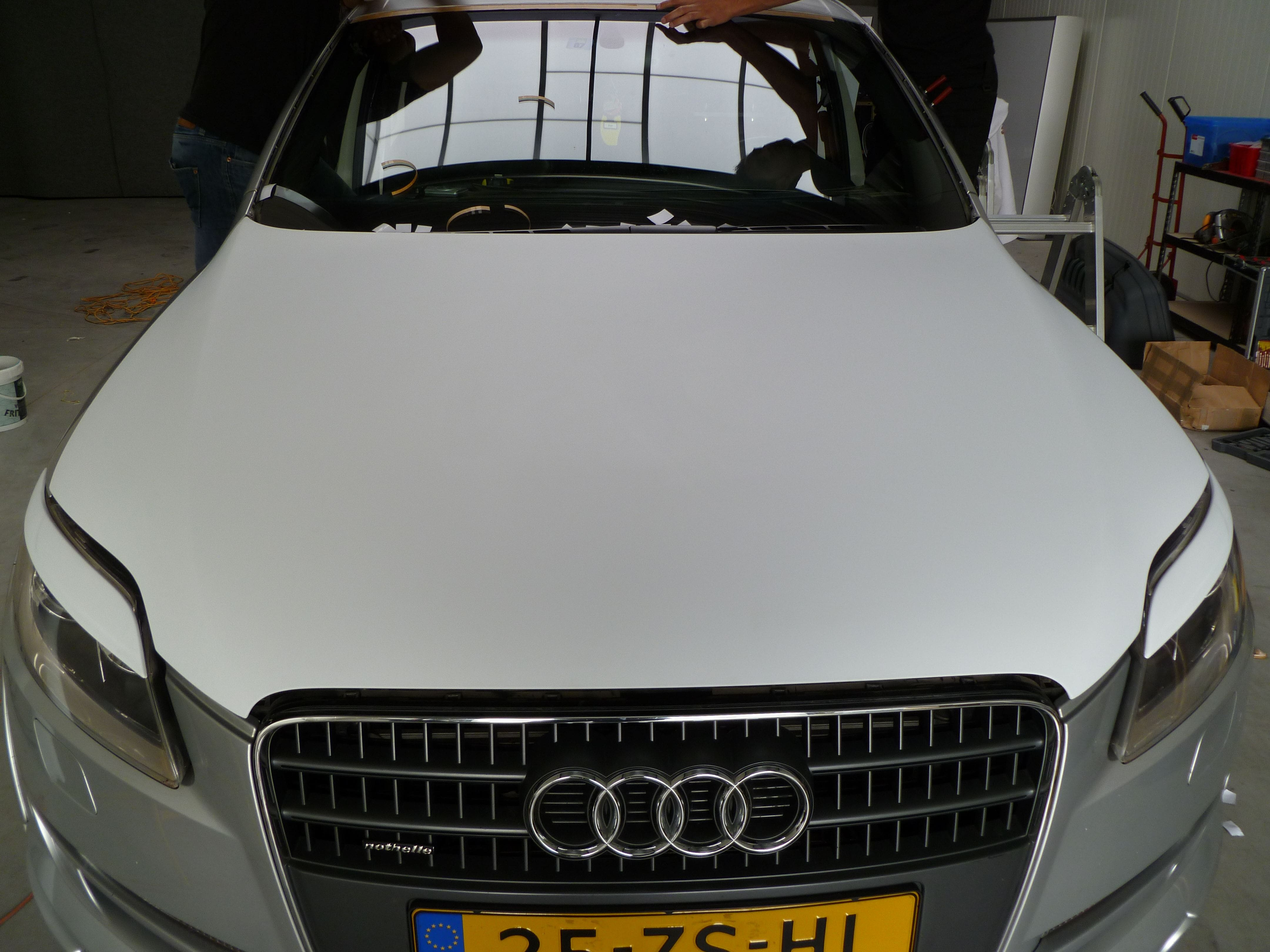 Audi Q7 met Mat Witte Wrap, Carwrapping door Wrapmyride.nu Foto-nr:4968, ©2021