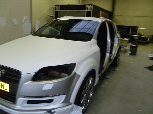 Audi Q7 met Mat Witte Wrap, Carwrapping door Wrapmyride.nu Foto-nr:4997, ©2021