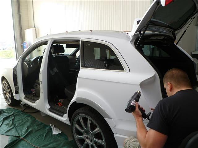 Audi Q7 met Mat Witte Wrap, Carwrapping door Wrapmyride.nu Foto-nr:5020, ©2021