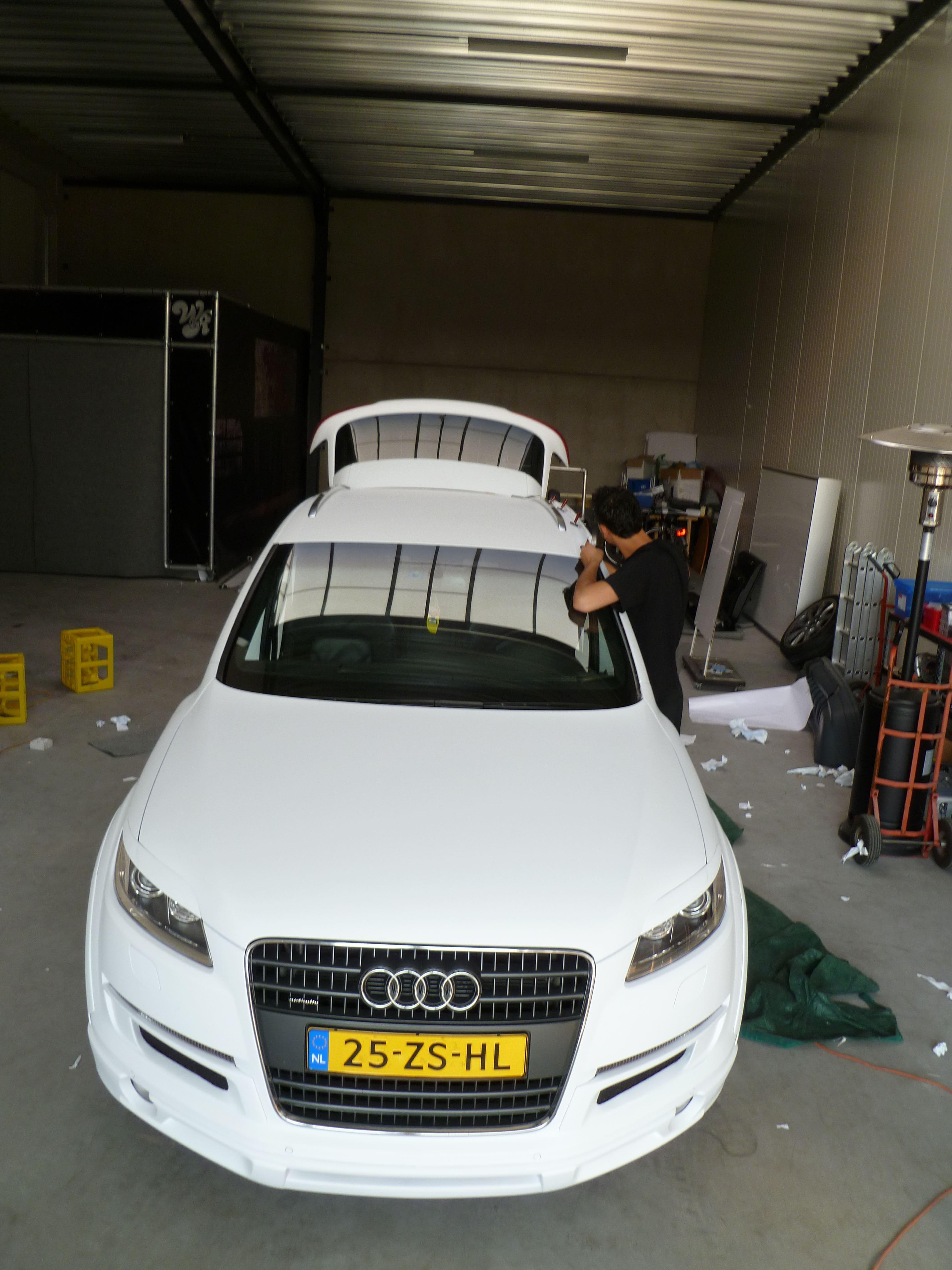 Audi Q7 met Mat Witte Wrap, Carwrapping door Wrapmyride.nu Foto-nr:5022, ©2021