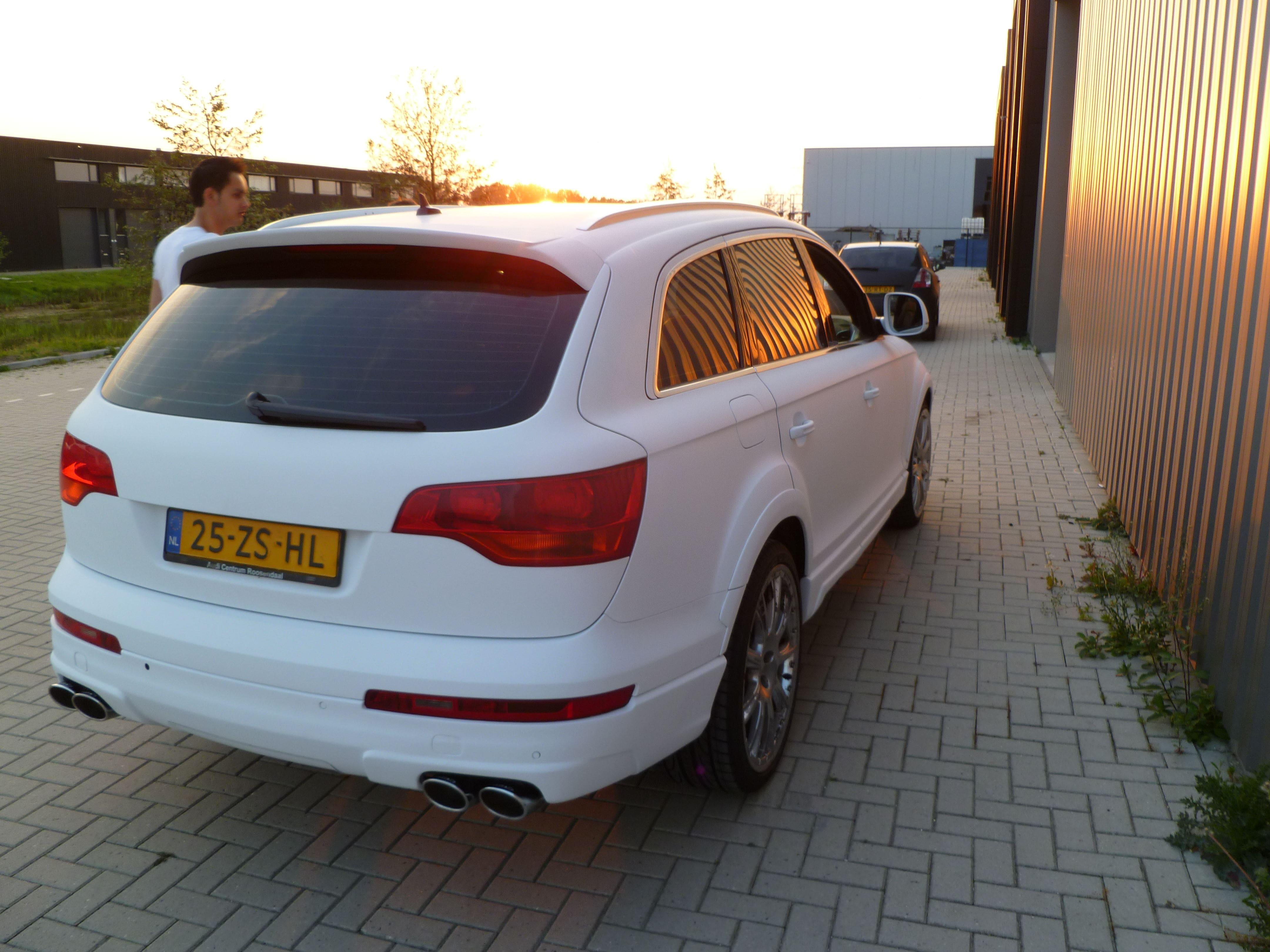 Audi Q7 met Mat Witte Wrap, Carwrapping door Wrapmyride.nu Foto-nr:5035, ©2021