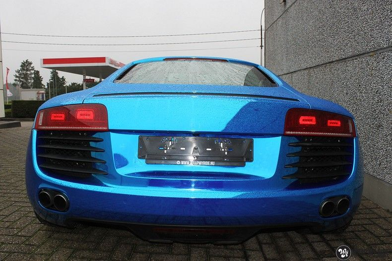 Audi R8 Bleu Chrome, Carwrapping door Wrapmyride.nu Foto-nr:10487, ©2018