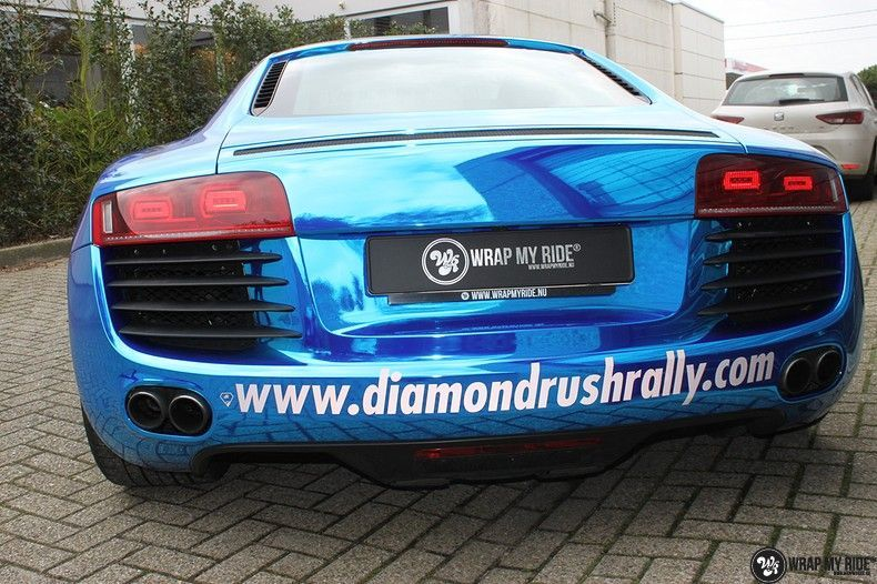 Audi R8 Bleu Chrome, Carwrapping door Wrapmyride.nu Foto-nr:10483, ©2020