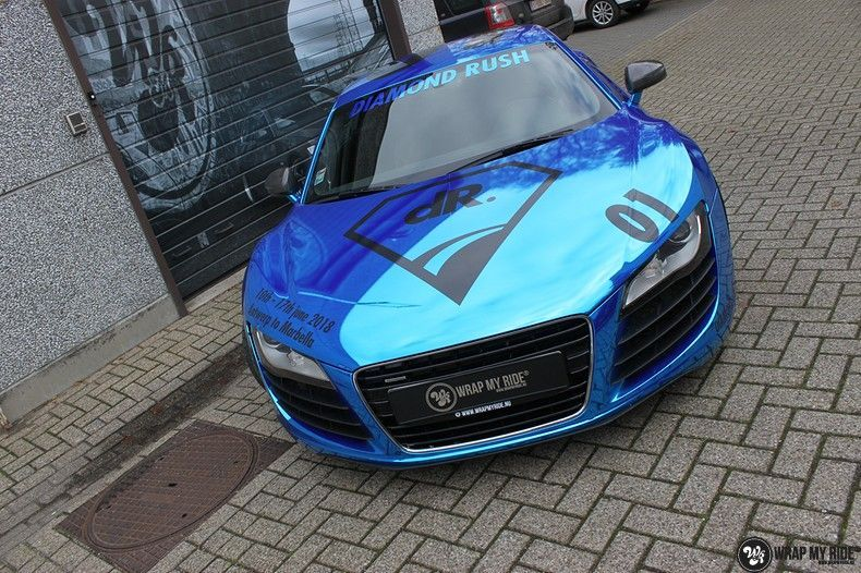 Audi R8 Bleu Chrome, Carwrapping door Wrapmyride.nu Foto-nr:10476, ©2018