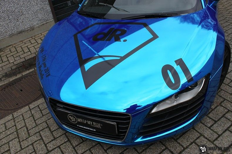 Audi R8 Bleu Chrome, Carwrapping door Wrapmyride.nu Foto-nr:10475, ©2018