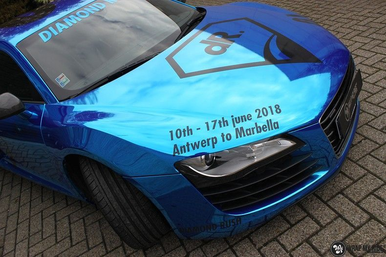 Audi R8 Bleu Chrome, Carwrapping door Wrapmyride.nu Foto-nr:10474, ©2018