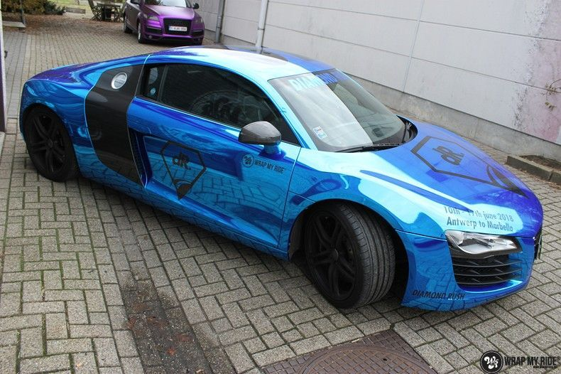 Audi R8 Bleu Chrome, Carwrapping door Wrapmyride.nu Foto-nr:10473, ©2019