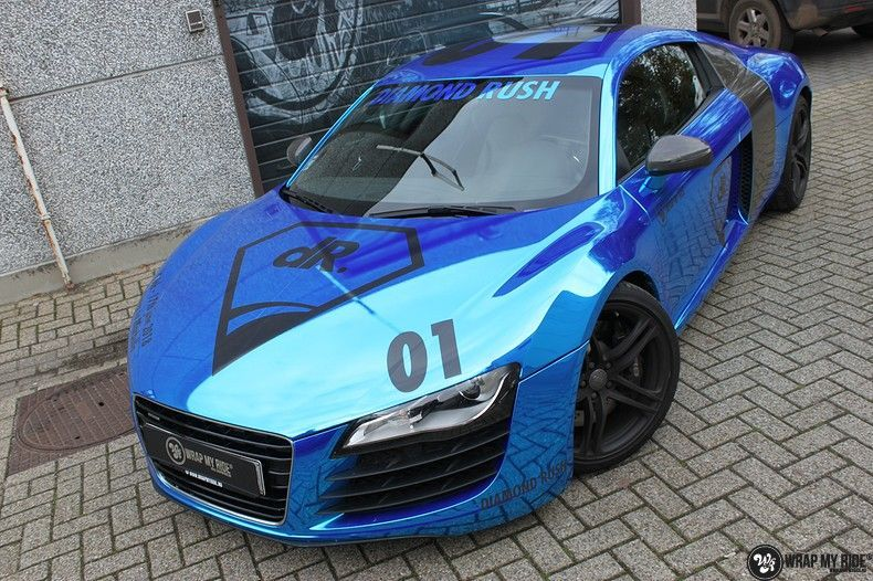 Audi R8 Bleu Chrome, Carwrapping door Wrapmyride.nu Foto-nr:10471, ©2018