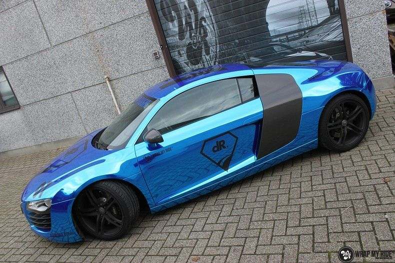 Audi R8 Bleu Chrome, Carwrapping door Wrapmyride.nu Foto-nr:10469, ©2019