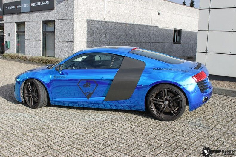 Audi R8 Bleu Chrome, Carwrapping door Wrapmyride.nu Foto-nr:10467, ©2020