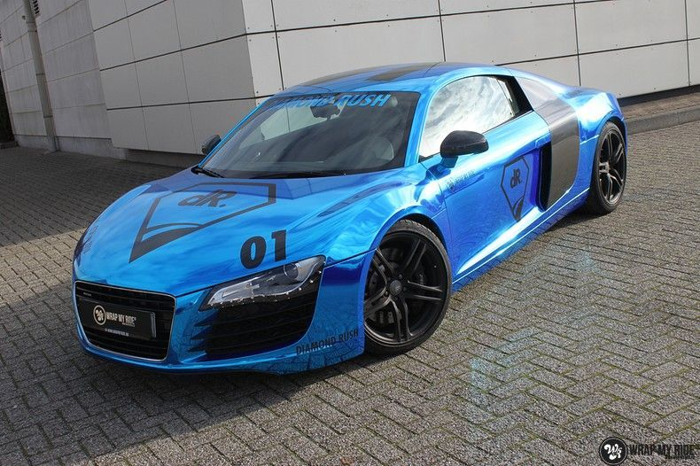 Audi R8 Bleu Chrome, Carwrapping door Wrapmyride.nu Foto-nr:10464, ©2018