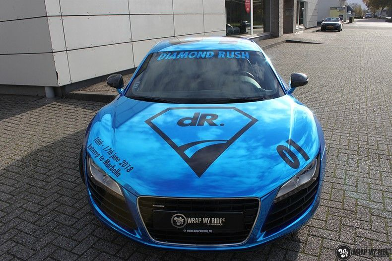 Audi R8 Bleu Chrome, Carwrapping door Wrapmyride.nu Foto-nr:10462, ©2020