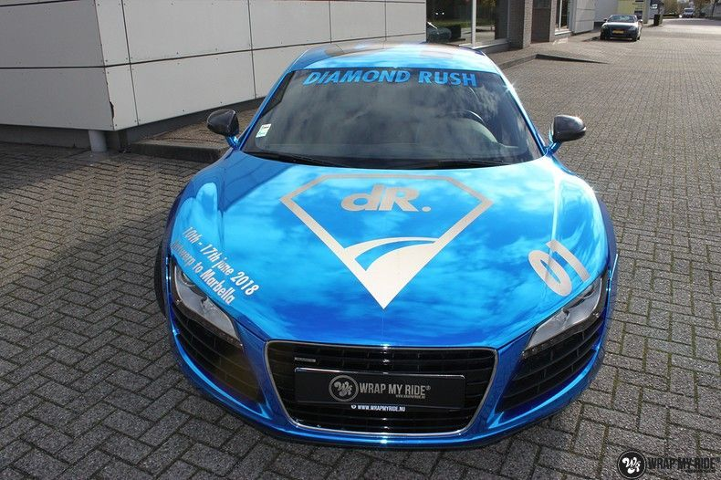 Audi R8 Bleu Chrome, Carwrapping door Wrapmyride.nu Foto-nr:10461, ©2019