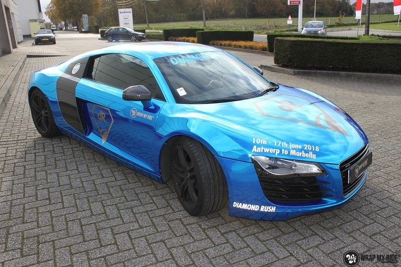 Audi R8 Bleu Chrome, Carwrapping door Wrapmyride.nu Foto-nr:10460, ©2019