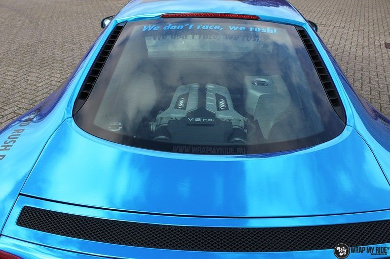 Audi R8 Bleu Chrome, Carwrapping door Wrapmyride.nu Foto-nr:10459, ©2018