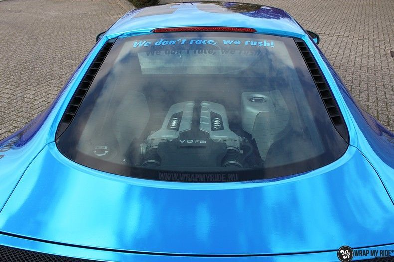 Audi R8 Bleu Chrome, Carwrapping door Wrapmyride.nu Foto-nr:10458, ©2018