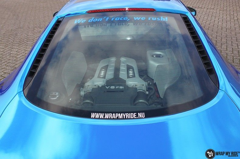 Audi R8 Bleu Chrome, Carwrapping door Wrapmyride.nu Foto-nr:10457, ©2018