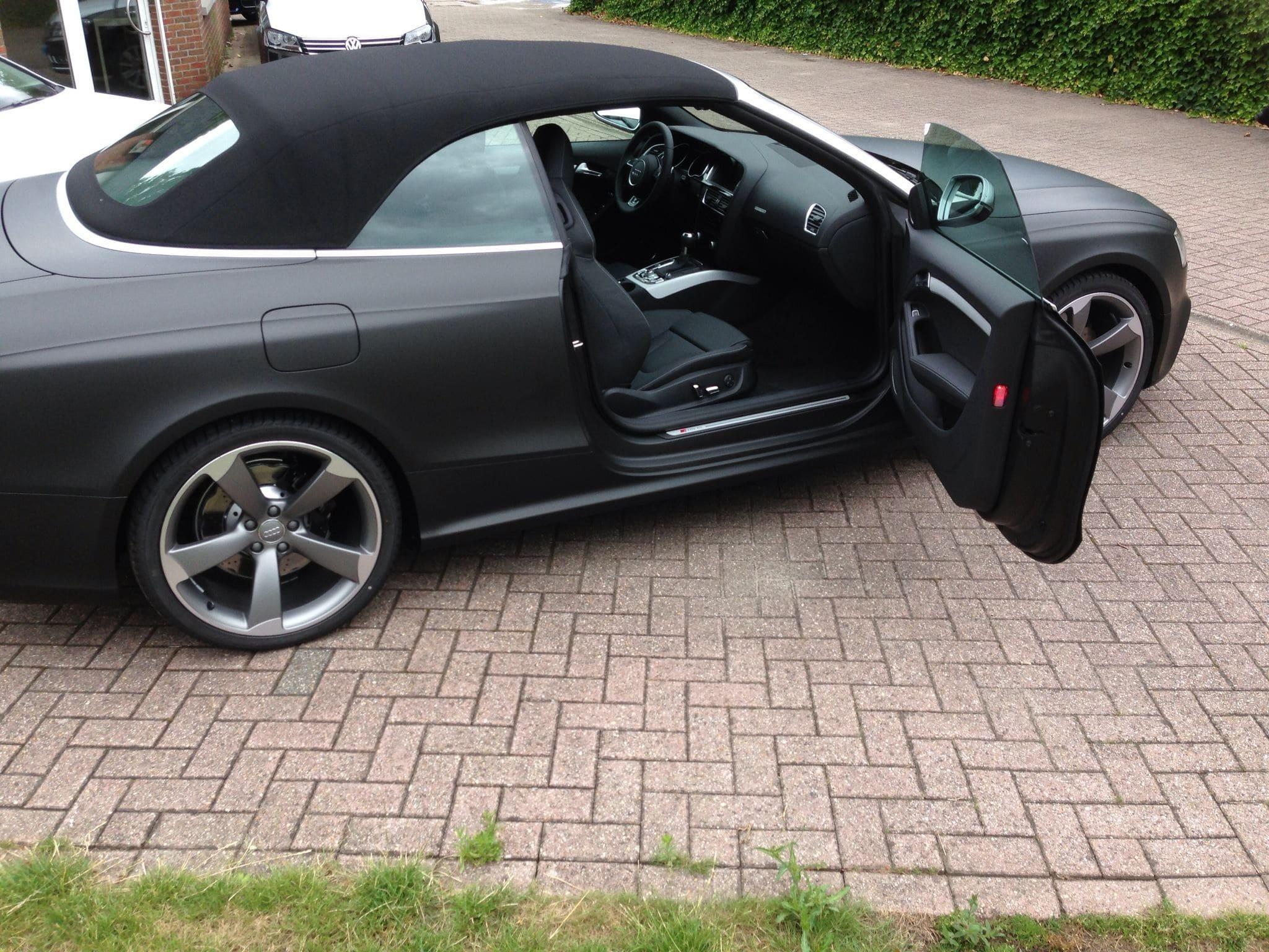 Audi RS5 Cabrio met Mat Zwarte Wrap, Carwrapping door Wrapmyride.nu Foto-nr:5067, ©2021
