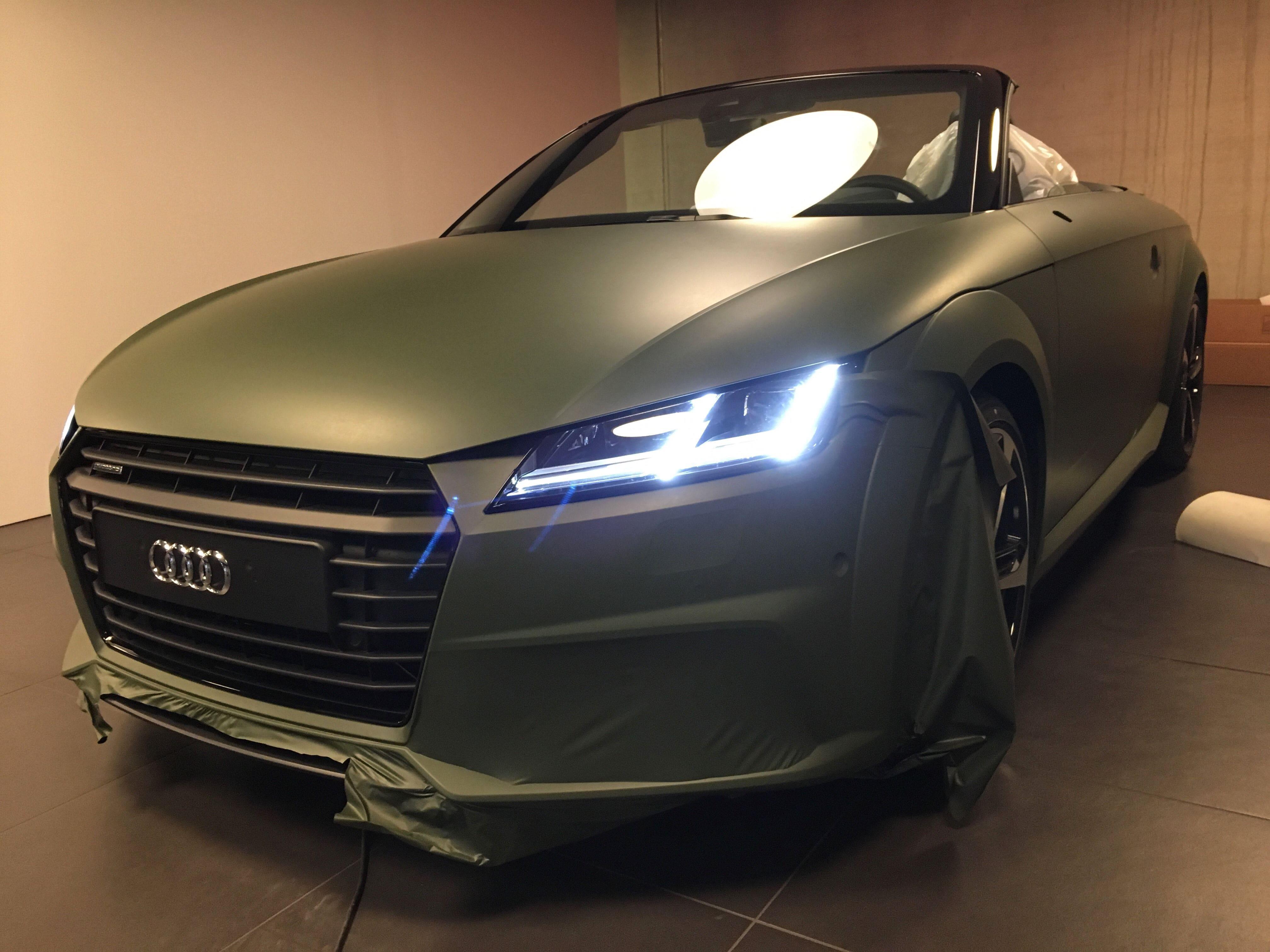 audi TT 2017 matte military green, Carwrapping door Wrapmyride.nu Foto-nr:9279, ©2020