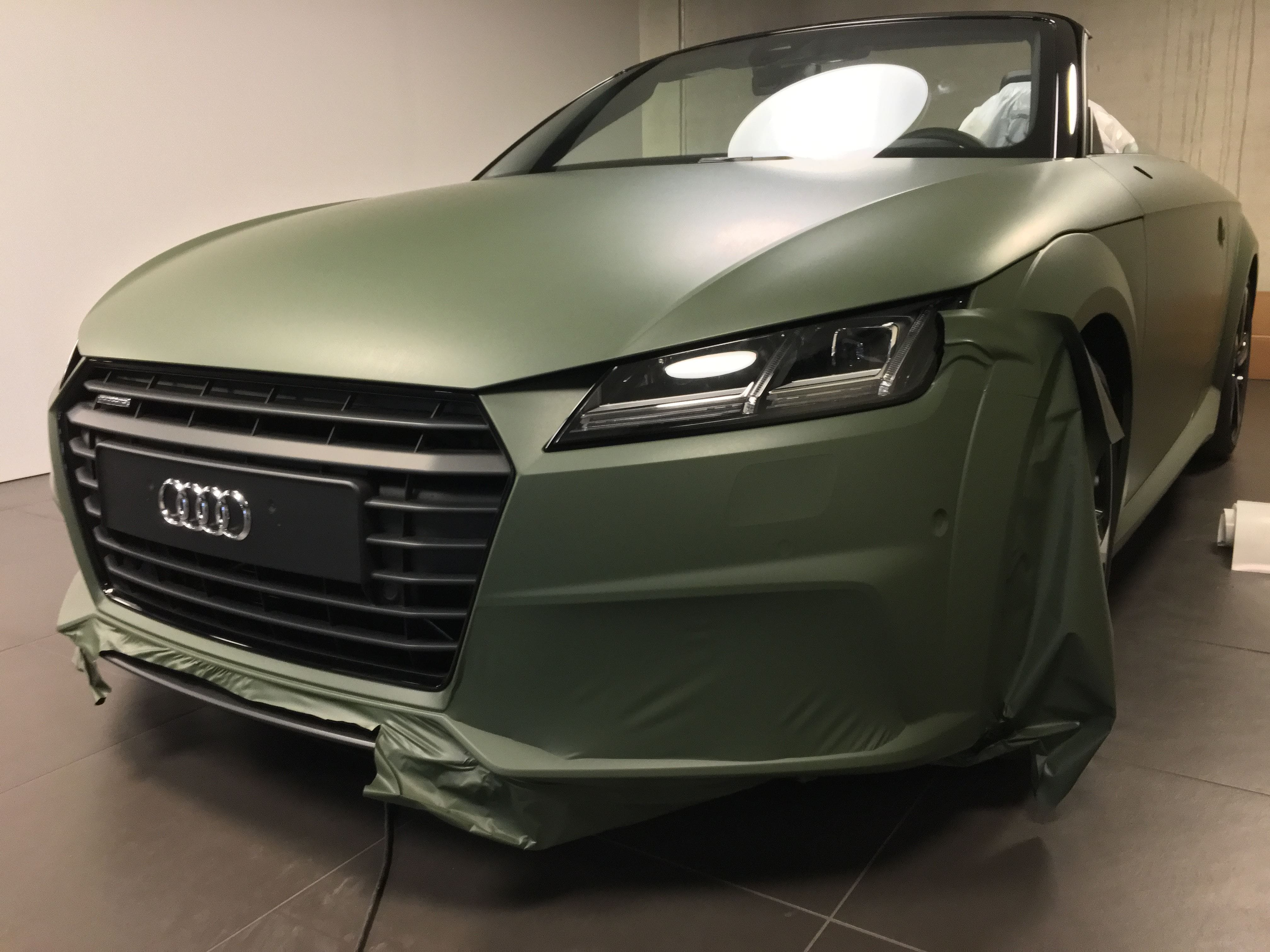 audi TT 2017 matte military green, Carwrapping door Wrapmyride.nu Foto-nr:9280, ©2021