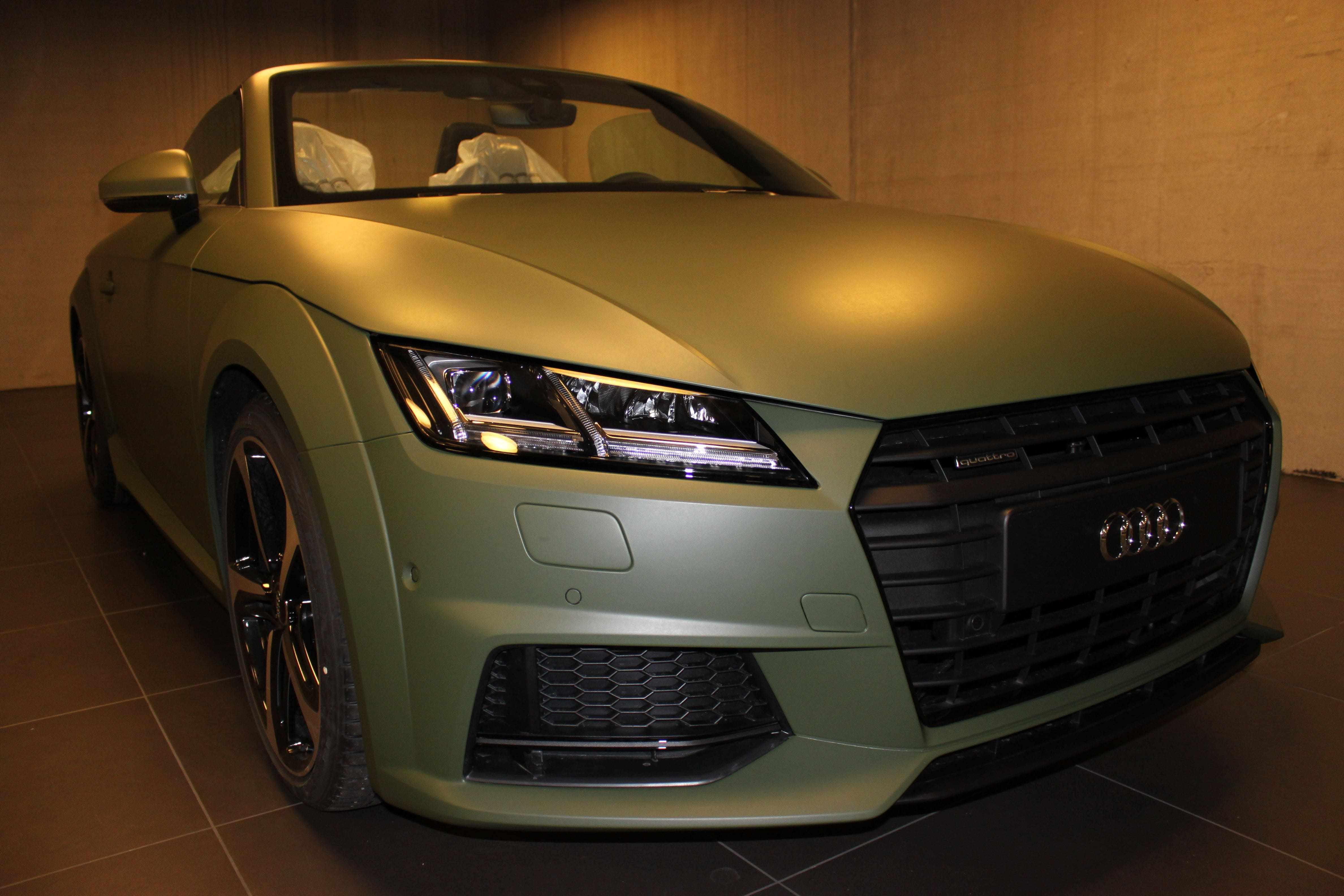 audi TT 2017 matte military green, Carwrapping door Wrapmyride.nu Foto-nr:9265, ©2021