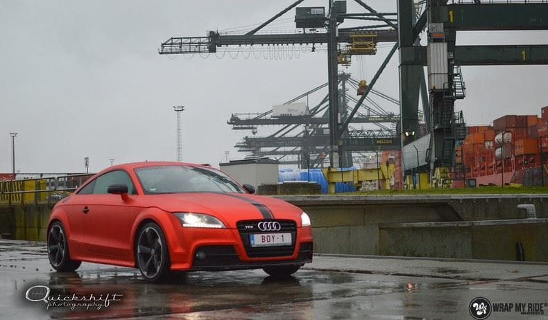 Audi TTS matte red chrome, Carwrapping door Wrapmyride.nu Foto-nr:8862, ©2020