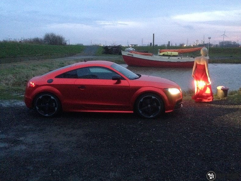 Audi TTS matte red chrome, Carwrapping door Wrapmyride.nu Foto-nr:8876, ©2020
