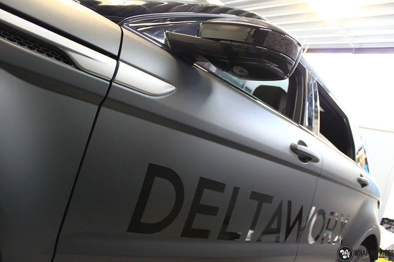 Range Rover Evoque 2016 mat  zwart Deltaworx, Carwrapping door Wrapmyride.nu Foto-nr:8767, ©2020