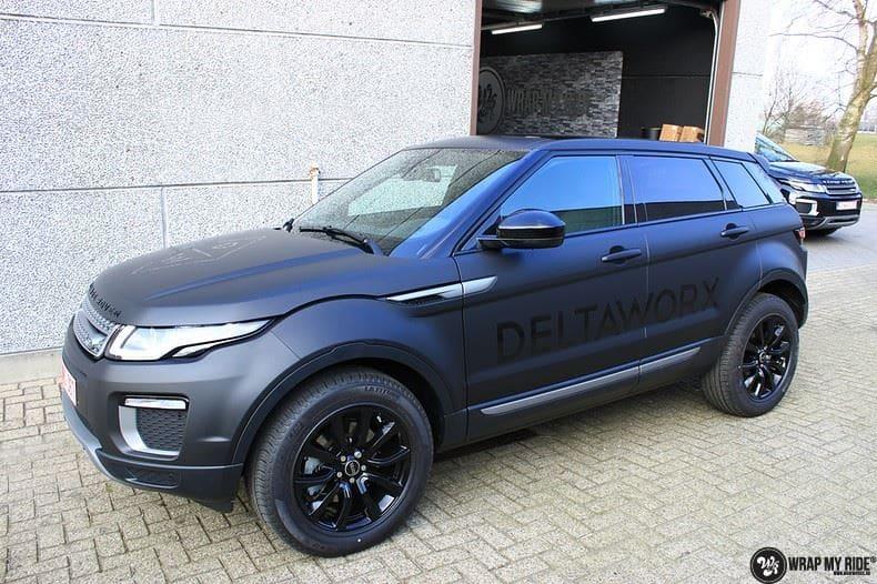 Range Rover Evoque 2016 mat  zwart Deltaworx, Carwrapping door Wrapmyride.nu Foto-nr:8764, ©2020