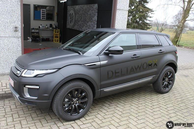 Range Rover Evoque 2016 mat  zwart Deltaworx, Carwrapping door Wrapmyride.nu Foto-nr:8740, ©2020