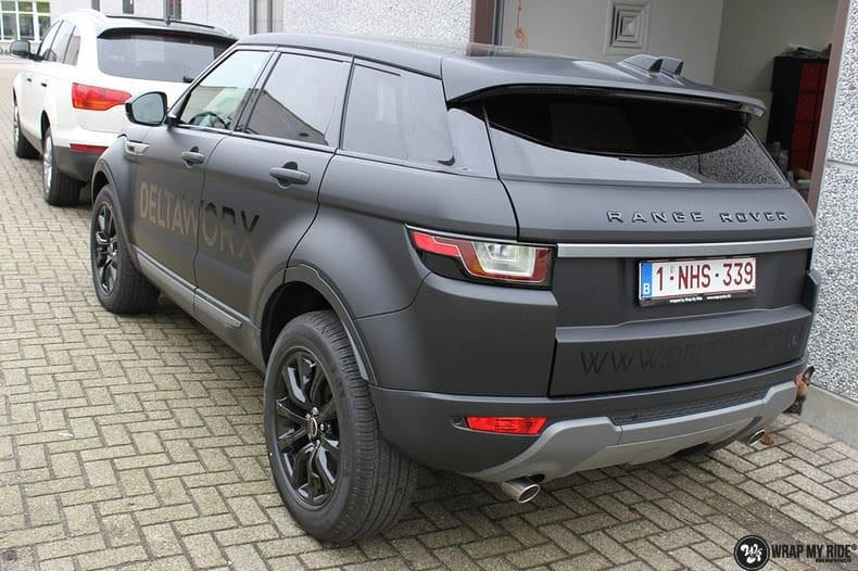 Range Rover Evoque 2016 mat  zwart Deltaworx, Carwrapping door Wrapmyride.nu Foto-nr:8739, ©2020