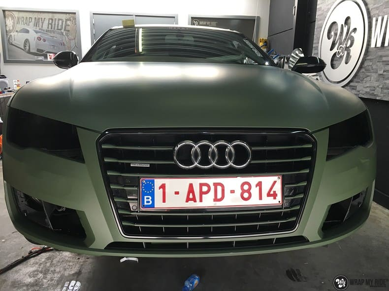 Audi A7 matte military green, Carwrapping door Wrapmyride.nu Foto-nr:9977, ©2018