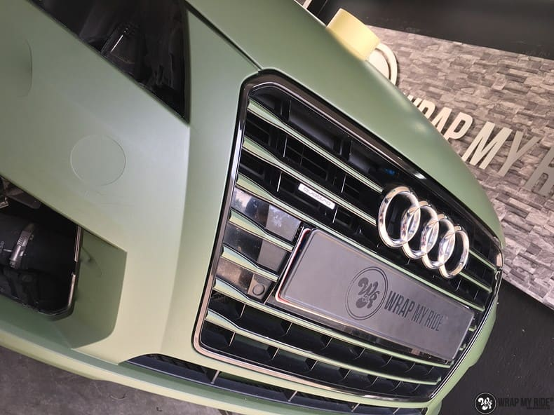 Audi A7 matte military green, Carwrapping door Wrapmyride.nu Foto-nr:9982, ©2020