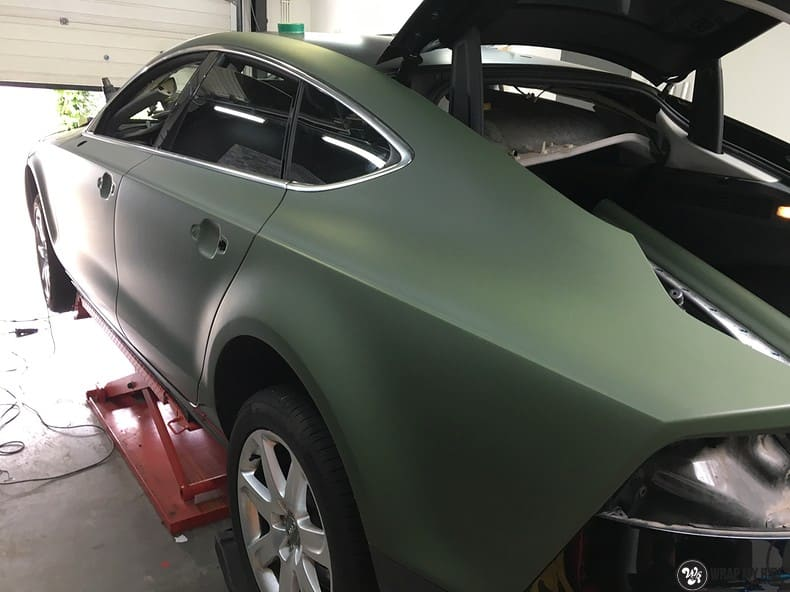 Audi A7 matte military green, Carwrapping door Wrapmyride.nu Foto-nr:9983, ©2018