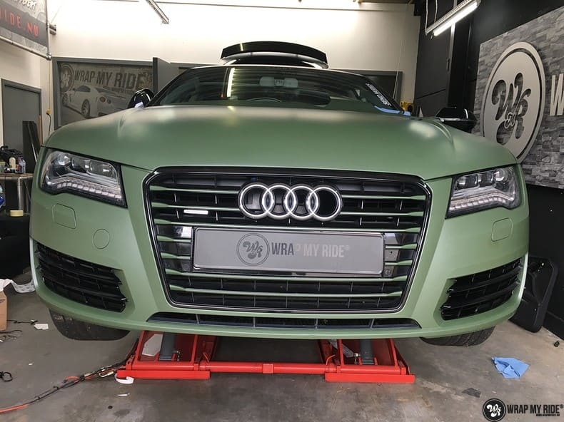 Audi A7 matte military green, Carwrapping door Wrapmyride.nu Foto-nr:9997, ©2018