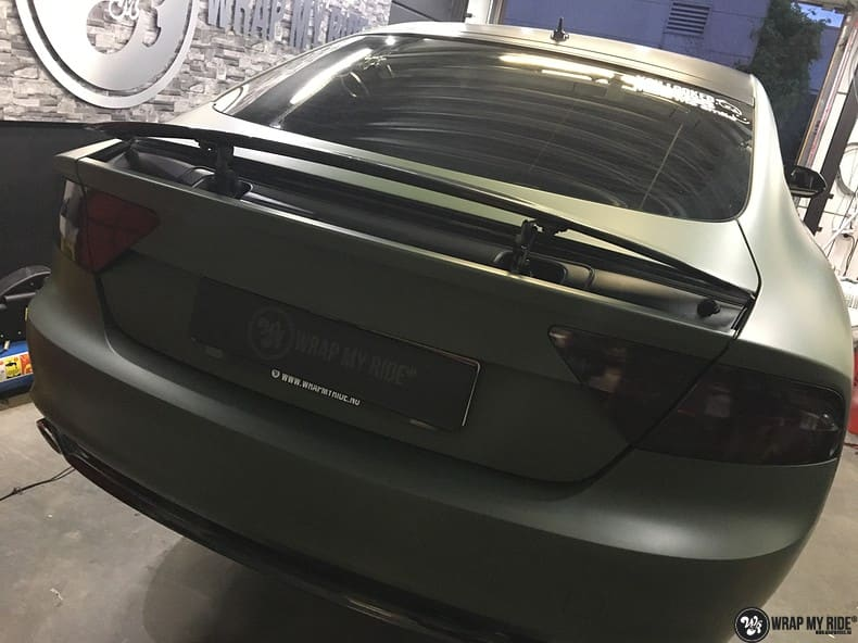 Audi A7 matte military green, Carwrapping door Wrapmyride.nu Foto-nr:10008, ©2018