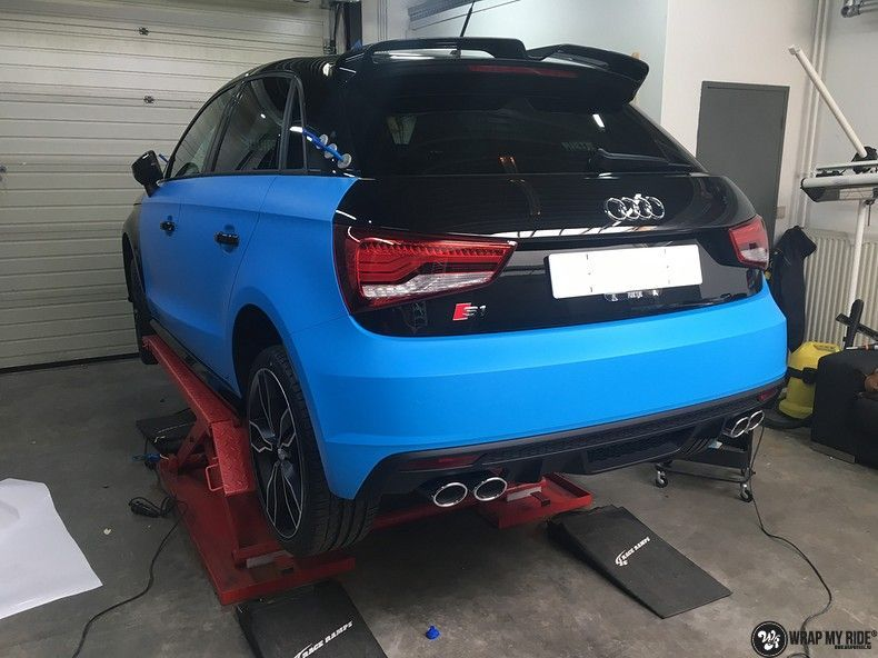 Audi S1 3m matte minerva bleu, Carwrapping door Wrapmyride.nu Foto-nr:11609, ©2020