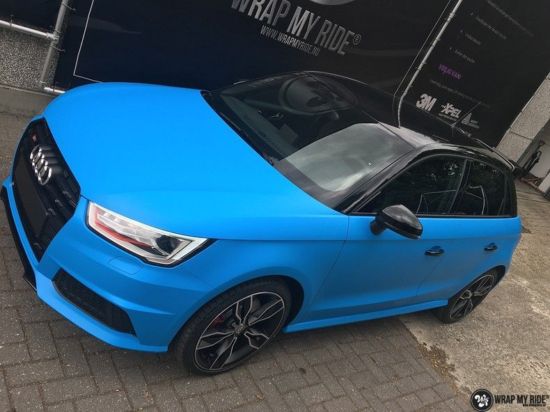 Audi S1 3m matte minerva bleu, Carwrapping door Wrapmyride.nu Foto-nr:11631, ©2020