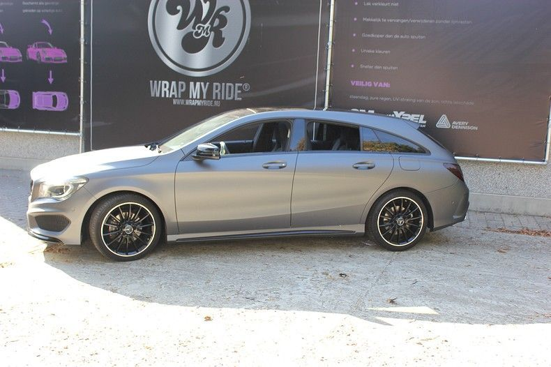 Mercedes CLA Shooting brake matte dark grey, Carwrapping door Wrapmyride.nu Foto-nr:12299, ©2020