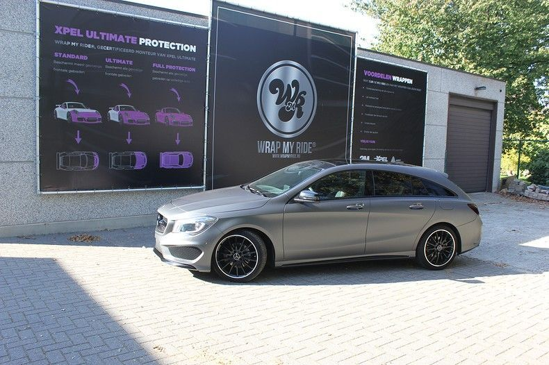 Mercedes CLA Shooting brake matte dark grey, Carwrapping door Wrapmyride.nu Foto-nr:12276, ©2020