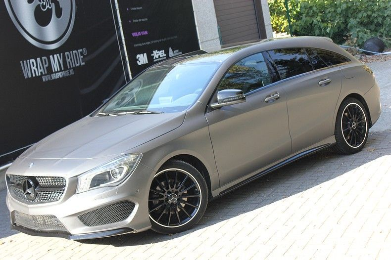 Mercedes CLA Shooting brake matte dark grey, Carwrapping door Wrapmyride.nu Foto-nr:12275, ©2020