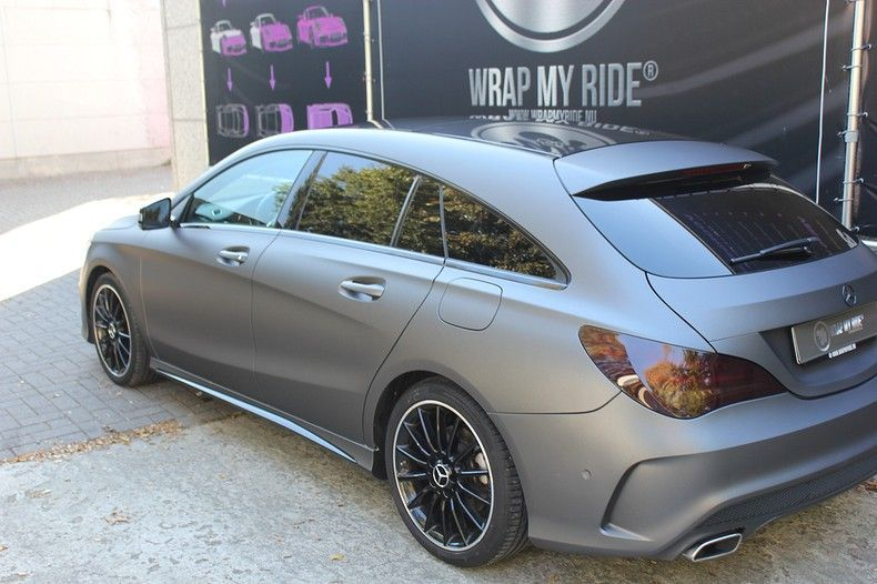 Mercedes CLA Shooting brake matte dark grey, Carwrapping door Wrapmyride.nu Foto-nr:12273, ©2019