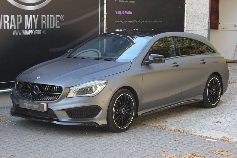 Mercedes CLA Shooting brake matte dark grey, Carwrapping door Wrapmyride.nu Foto-nr:12263, ©2020